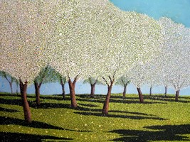Living room painting by Jacek Malinowski titled The orchard