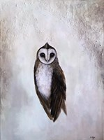 Living room painting by Klaudia Choma titled Barn Owl II
