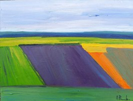 Living room painting by Anna Brzeska titled Landscape 6 with purple
