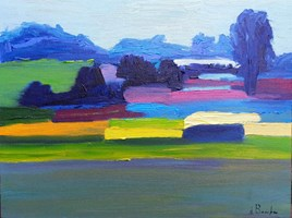 Living room painting by Anna Brzeska titled Landscape 9 with orange