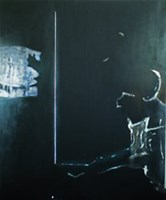 Living room painting by Edyta Duduś titled In the black room