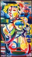 Obraz do salonu artysty Maciej Cieśla pod tytułem Kompozycja kolorystyczna dwie postaci kobiece we Włoszech