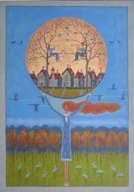 Obraz do salonu artysty Mikołaj Malesza pod tytułem Na zielonej łące pasły się zające