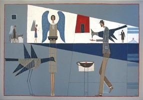 Living room painting by Mikołaj Malesza titled Silience 01