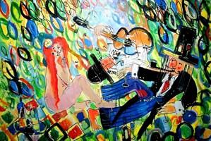 Obraz do salonu artysty Dariusz Grajek pod tytułem Muzykowanie na trawie