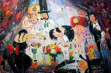 Obraz do salonu artysty Dariusz Grajek pod tytułem Biesiada u Bazyla