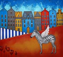 Obraz do salonu artysty Małgorzata Rukszan pod tytułem Stare Miasto - z cyklu Pogoda w paski