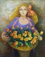 Living room painting by Renata Kulig-Radziszewska titled Little Florist