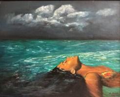 Obraz do salonu artysty Grażyna Jeżak pod tytułem Nieruchomo w wodzie