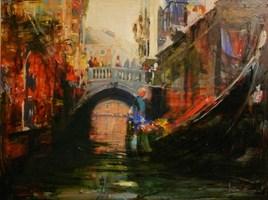 Obraz do salonu artysty Michał Smółka pod tytułem Wenecja mostek