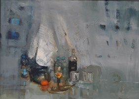 Obraz do salonu artysty Michał Smółka pod tytułem Martwa natura Szarość
