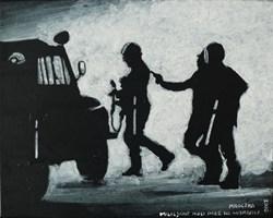 Obraz do salonu artysty Michał Mroczka pod tytułem Milicjant nosi pałę na wierzchu