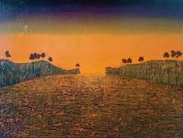 Obraz do salonu artysty Michał Mroczka pod tytułem Pomarańczowy pejzaż