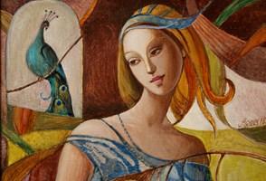 Obraz do salonu artysty Agnieszka Korczak-Ostrowska pod tytułem Dziewczyna z pawiem