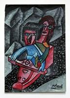 Obraz do salonu artysty Mirosław Śledź pod tytułem Para na skuterze