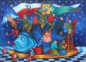 Living room painting by Jacek Lipowczan titled Merry Xmas - Christmas-very patriotic Carp