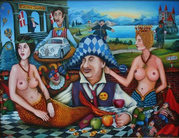 Living room painting by Jacek Lipowczan titled Politicians Dolce Vita