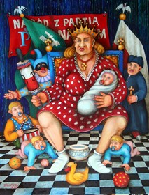 Living room painting by Jacek Lipowczan titled Cycle National Patirotic  Portrait -  Polish Mother from the five hundred
