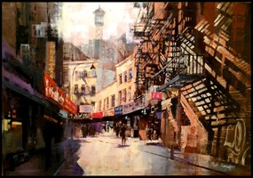 Living room painting by Piotr Zawadzki titled NYC Chinatown
