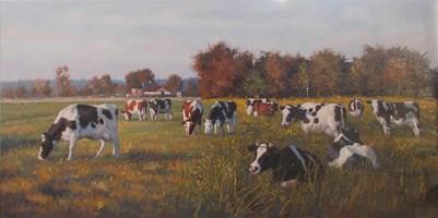 Obraz do salonu artysty Wojciech Piekarski pod tytułem Pejzaż z krowami