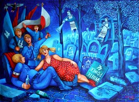 """Obraz do salonu artysty Jacek Lipowczan pod tytułem Siesta, siesta - czyli po """"patriotycznej"""" demonstracji..."""