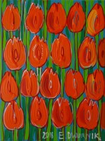 Obraz do salonu artysty Edward Dwurnik pod tytułem Pomarańczowe tulipany 7540