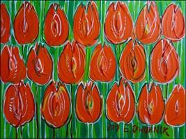 Obraz do salonu artysty Edward Dwurnik pod tytułem Czerwone tulipany 7510
