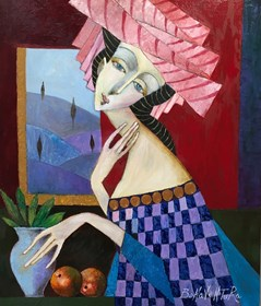 Living room painting by Jan Bonawentura Ostrowski titled Girl in hat