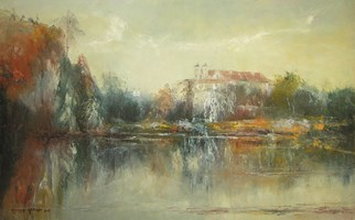 Living room painting by Kazimierz Hamada titled Tyniec- abbey