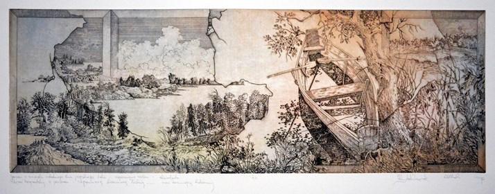 Grafika do salonu artysty Krzysztof Wieczorek pod tytułem Pejzaż horyzontalny z jeziorem