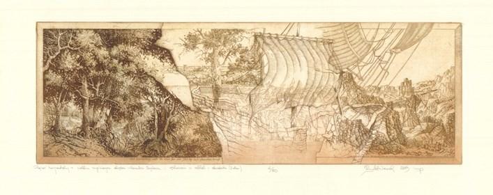 Grafika do salonu artysty Krzysztof Wieczorek pod tytułem Pejzaż horyzontalny z wielkim zaginionym okrętem