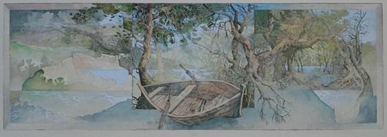 Grafika do salonu artysty Krzysztof Wieczorek pod tytułem Szkic niderlandzki z drewnianą łodzią