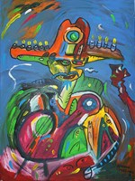 Living room painting by Radosław Pytelewski titled Fish band