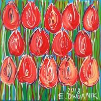 Obraz do salonu artysty Edward Dwurnik pod tytułem Czerwone tulipany  7404
