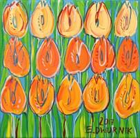 Living room painting by Edward Dwurnik titled Orange tulips