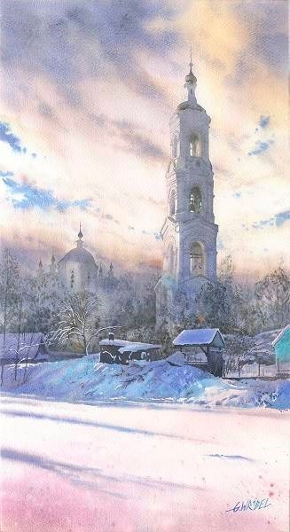 Living room painting by Grzegorz Wróbel titled Winter bell
