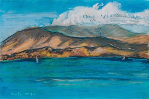 Living room painting by Agnieszka Korczak titled Corfu