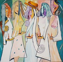 Living room painting by Tomasz Kuran titled 5 wise women
