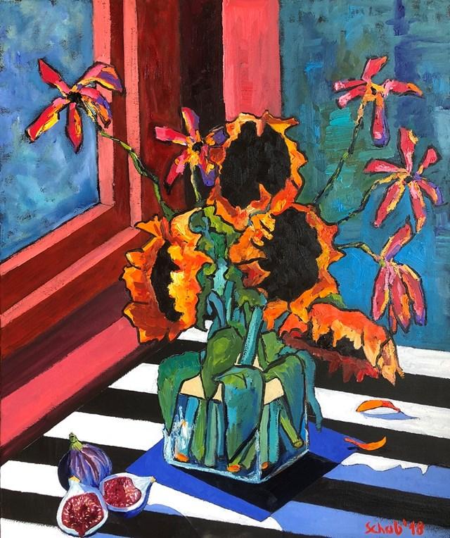 Obraz do salonu artysty David Schab pod tytułem Martwa natura ze słonecznikami i figami