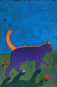 Obraz do salonu artysty David Schab pod tytułem Kot z pomarańczowym ogonem
