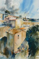 Living room painting by Adam Papke titled Pitigliano