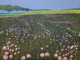 Living room painting by Jacek Malinowski titled The 4th dandelions