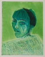 Living room print by Agnieszka Korczak titled Green portrait