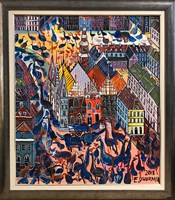 Living room painting by Edward Dwurnik titled Wrocław