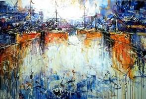Obraz do salonu artysty Dariusz Grajek pod tytułem Pomarańczowe łodzie