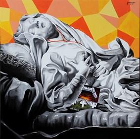 Obraz do salonu artysty Zuzanna Jankowska pod tytułem Ludwika w oczekiwaniu na koncert Metalliki