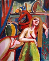 Living room painting by Maciej Cieśla titled Women with devil
