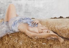 Living room painting by Patrycja Kruszynska-Mikulska titled Dolce Vita