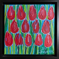 Living room painting by Edward Dwurnik titled Red tulips 6909