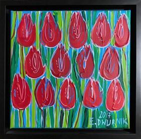 Obraz do salonu artysty Edward Dwurnik pod tytułem Czerwone tulipany 6909
